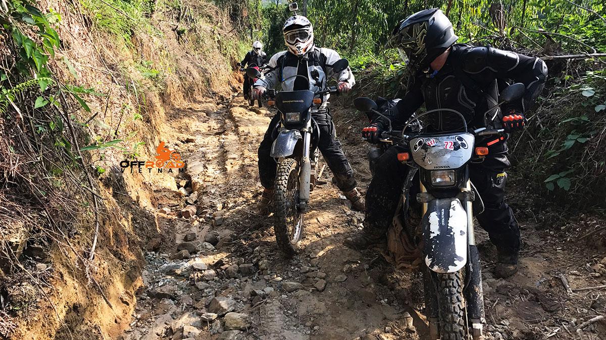 Great North Loop Of Vietnam By Motorcycle: Dirt biking through North Vietnam. Back road near Mai Chau and Thung Man.