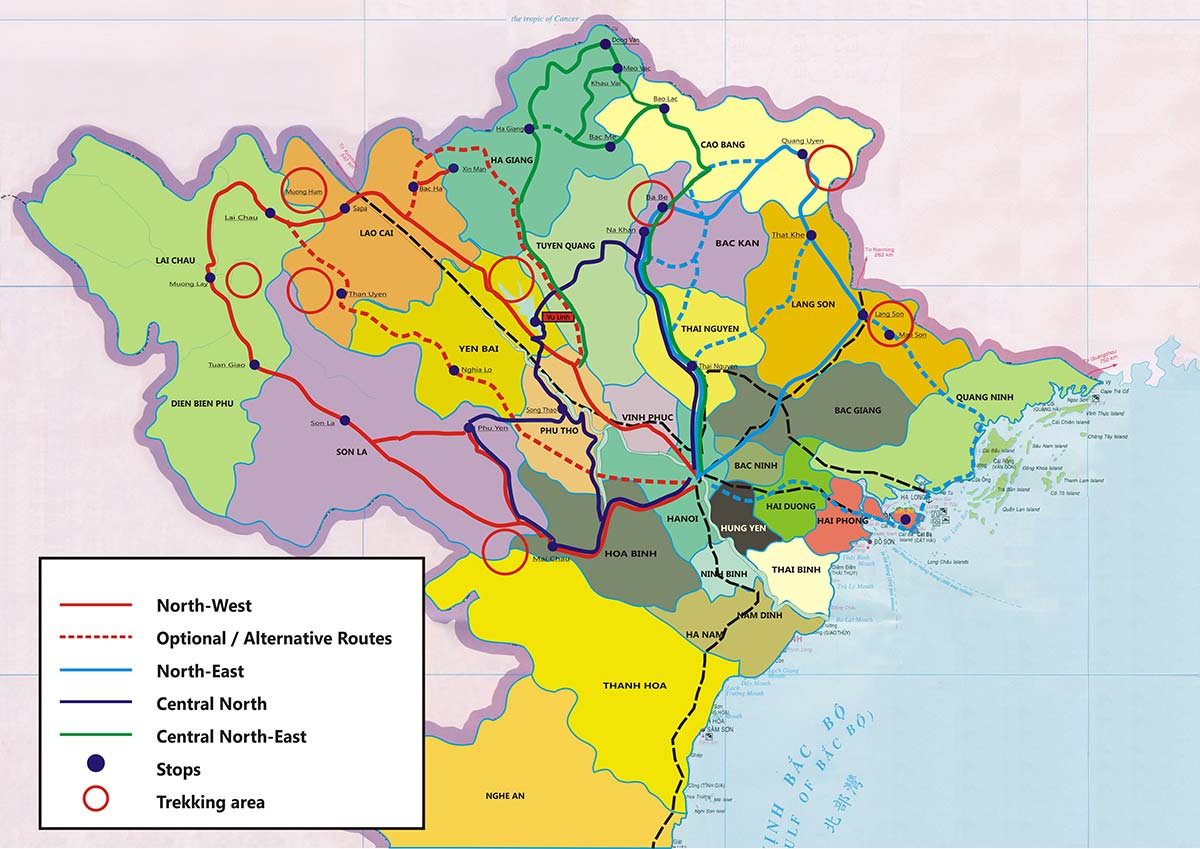 Vietnam Motorbike Motorcycle Tours - Routing & Maps, riding route map